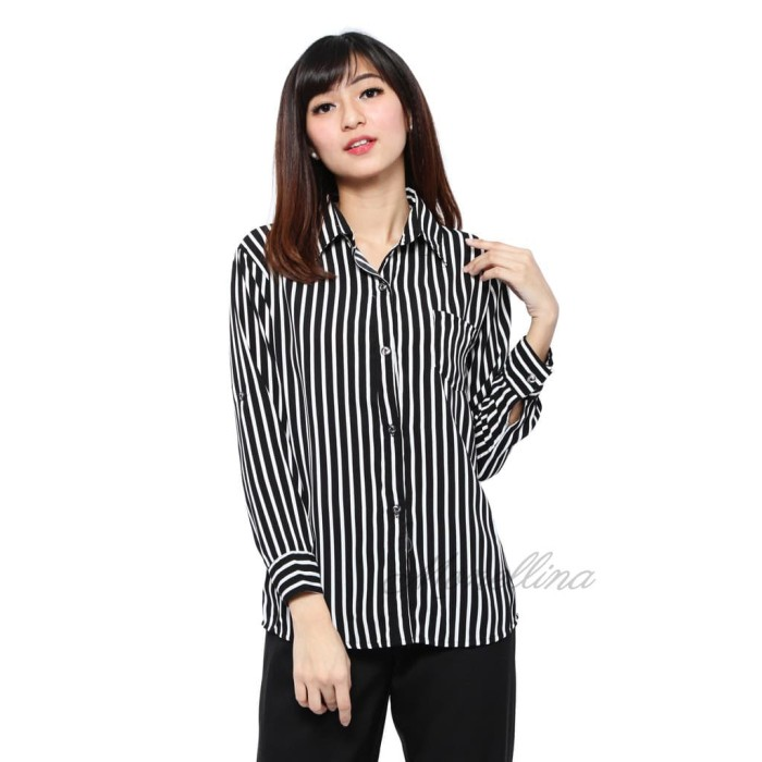 Baju Kemeja Wanita Stirpe Lengan Panjang D-00630 - Putih