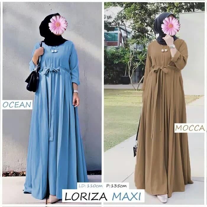 Jual Baju Gamis Loriza Maxi Bahan Crepe Maxy Dress Simple Cantik Murah Kota Bandung Tridita Aneka Olshop Tokopedia