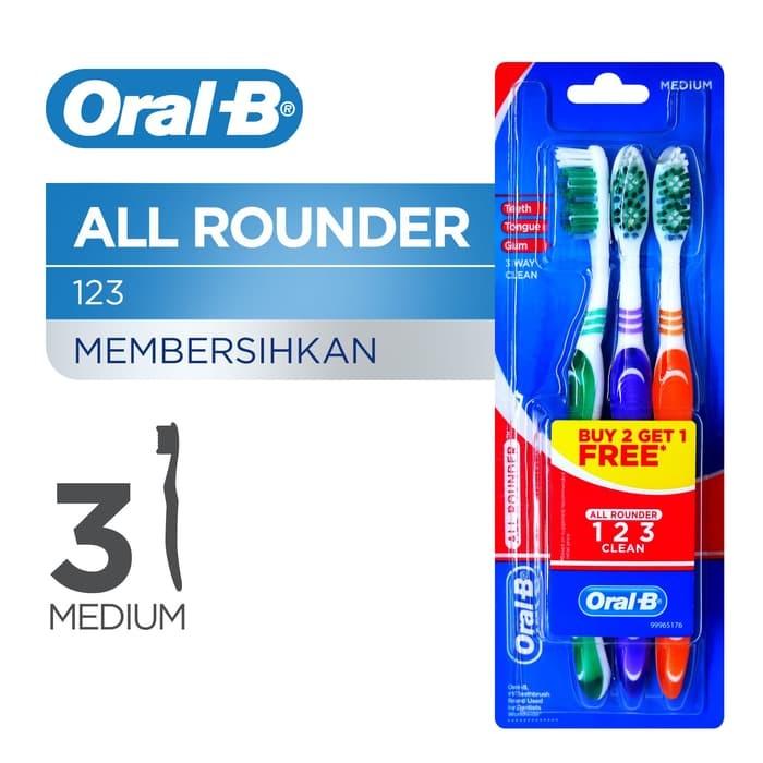 Oral B Sikat Gigi 123 Medium 3s