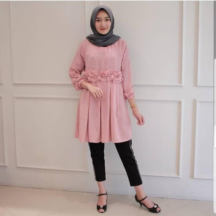 Jual Baju Atasan Wanita Monica Polos Blouse Lengan Panjang Model Simpel Kota Bandung Pusat Baju Muslim Tokopedia