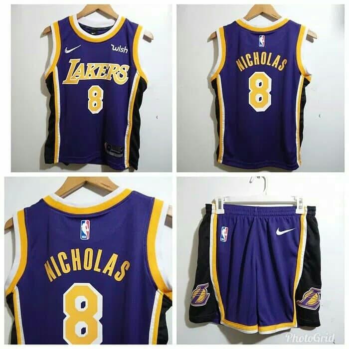 buy popular d56a2 b8b71 Jual STELAN JERSEY BASKET NBA ANAK KIDS LA LAKERS CUSTOM NAME NOMER UNGU -  Kota Bandung - Bizar Sport | Tokopedia