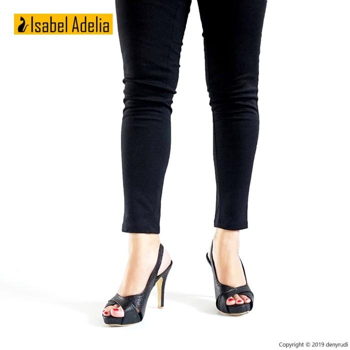 Isabel BRENDA Sepatu Wanita Hak Tinggi Slingback Heels Hitam Putih - Putih, 38