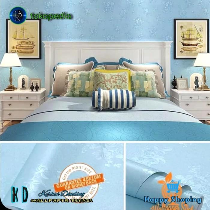 jual kd   wallpaper dinding biru polos   wallpaper sticker.murah