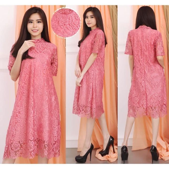 Jual Dress Brukat Terusan Kebaya Terusan Loli Lace Loli Lace Premium Qualit Merah Muda Jakarta Timur Super Cool Casing Tokopedia