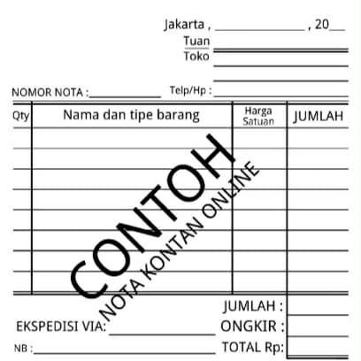 Jual Nota Kontan Online Tanpa Nama Toko Dki Jakarta Obajacell Tokopedia