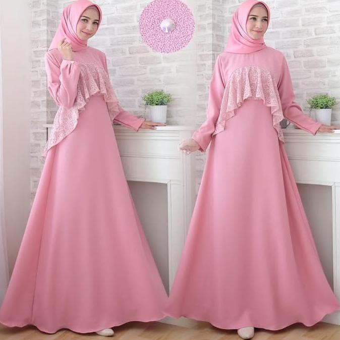 Gamis Brokat Warna Dusty Pink Gambar Islami Gratis