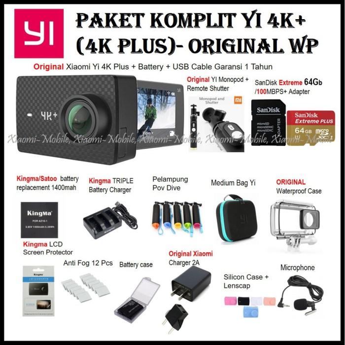 Paket Komplit Xiaomi Yi 4K Plus 4K Action Camera Original Monopod