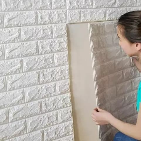 Jual Wallpaper Foam Batu Bata Putih