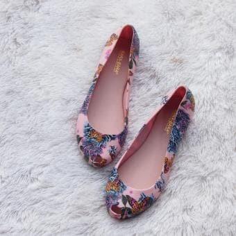 Bara Bara - Flat Shoes Jelly Motif Bunga 1838MSB - Warna Random - , 36