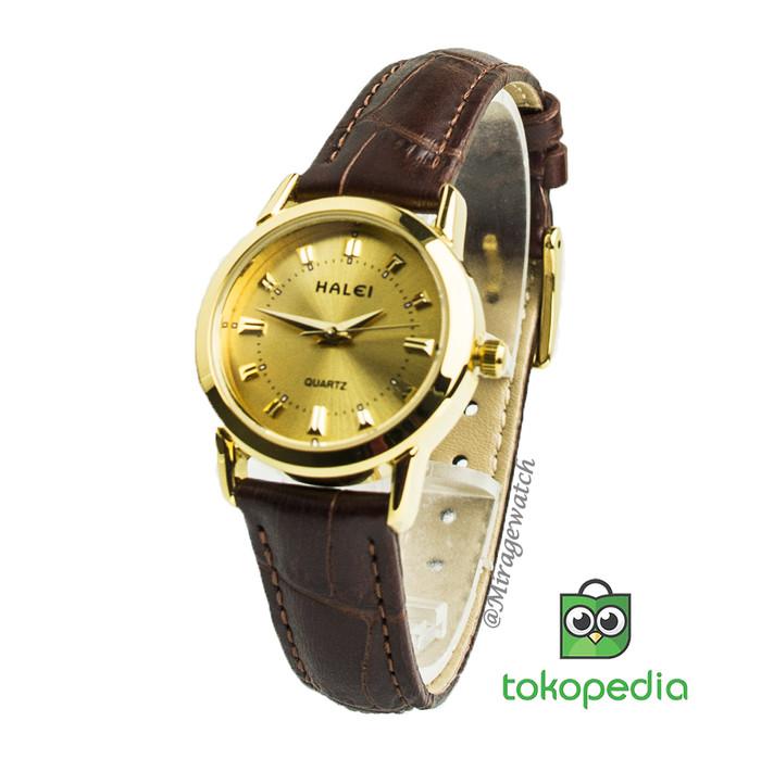harga Jam tangan wanita kulit haleiwatch gold 502 l pk Tokopedia.com