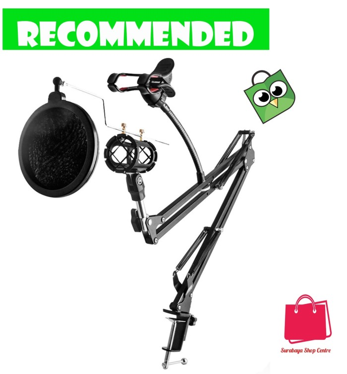 harga Condenser microphone stand holder 360 lazypod clamp professional set Tokopedia.com