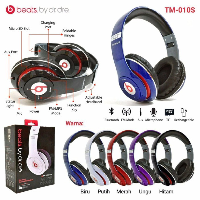 Jual Handsfree Headphone Earphone Headset Bluetooth Beats Tm 010 Kab Ciamis Wijaya Media Tokopedia