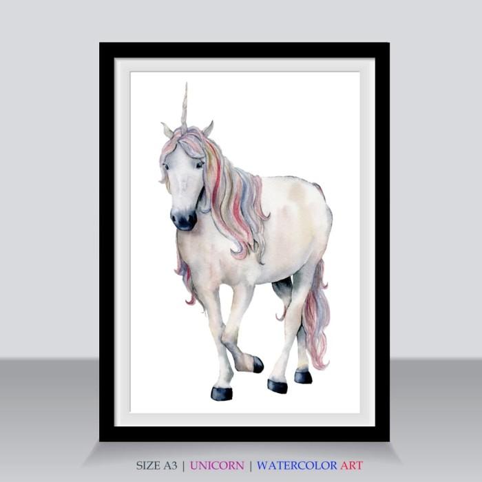 Jual Sketsa Unicorn Poster Jumbo A3 Gambar Ilustrasi Kuda Bertanduk