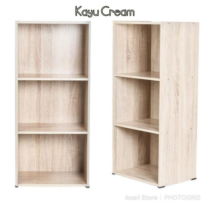 Foto Produk PROMO Lemari Rak Buku Baju Pakaian Kayu 3 Susun Tiga Tingkat Serbaguna - Kayu Cream dari Anari Store