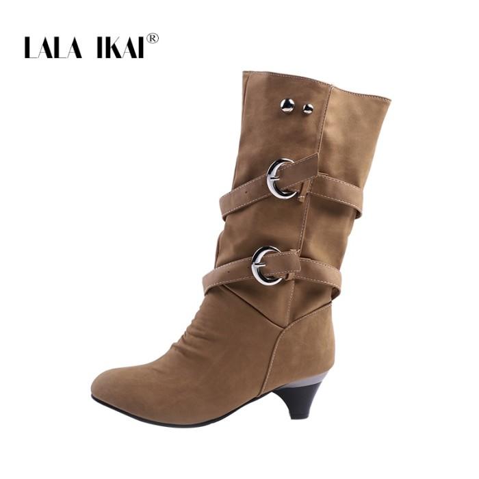779d14afb0a Jual LALA IKAI Winter Boots Women Warm Mid-calf Slip-On Buckle Plush ...