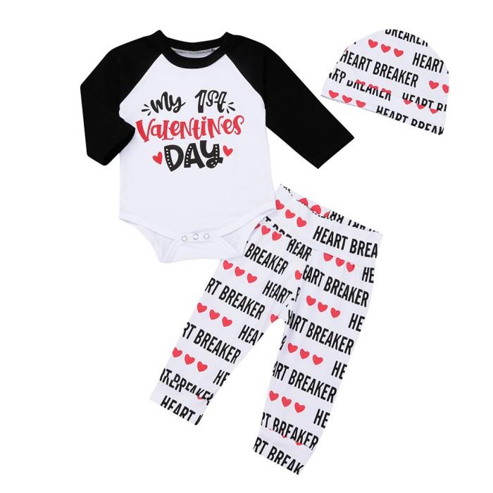 3c8da85b9f93 Jual Newborn Infant Baby Boy Girl Letter Romper Tops Pants Hat Set ...