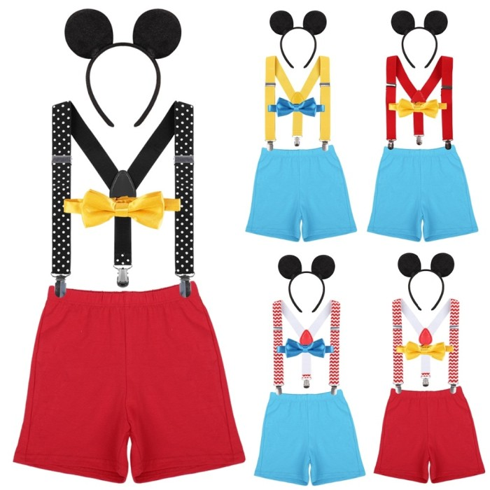 4pcs Set Mickey Mouse Baby Boys Girls 1st Birthday Cake Smash Outfit
