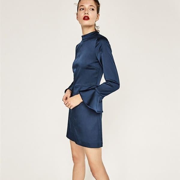 Jual Baju Pesta Murah Simple Lengan Trompet Blue Silk Backless Dress Hola Bella Tokopedia