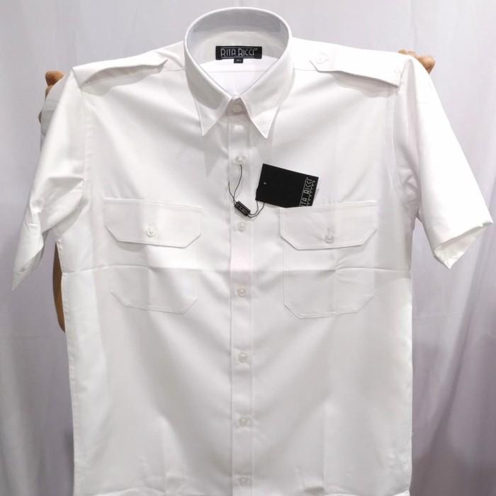 Foto Produk Kemeja Pria Rita Ricci Putih Cerah Pilot Pendek Oxford Kantong Dua - Putih, S dari Mega Hero Shirts