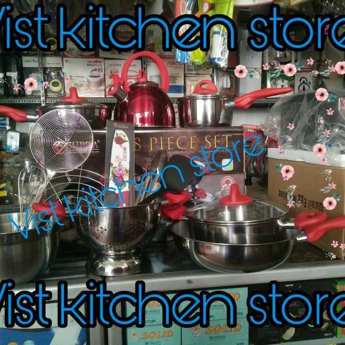 Foto Produk Panci set 18 pc SUPRA/Panci set cantik super lengkap/panci set hadiah - Merah dari Vist Kitchen Store