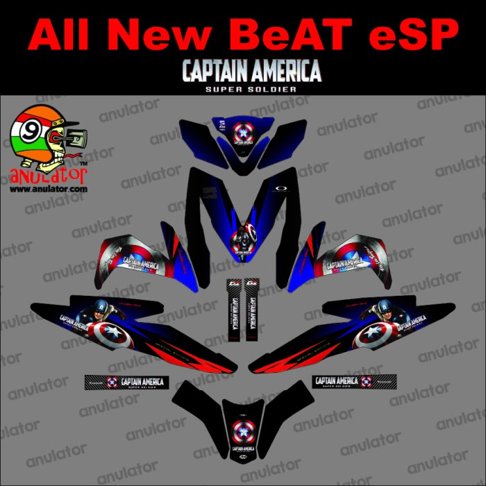 Foto Produk Sticker Striping Motor Honda All New Beat ESP /Street Captain America dari anulator-custom