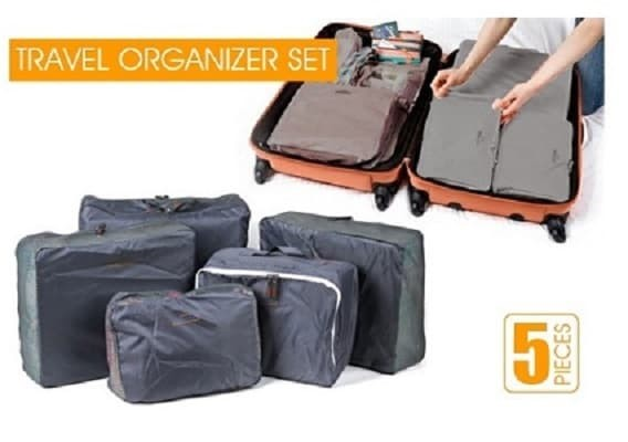 Bags in Bag: Travel Organizer Set 5 pcs/set Color Grey - Abu-abu