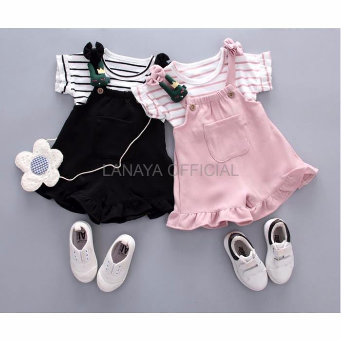 Jual Baju Set Anak Babyfit K9 Black Pink Overall Anak Baju Blus