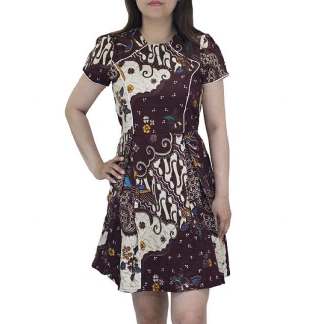 Jual Dd559 Baju Dress Batik Wanita Midi Aline Lengan Pendek Bahan Katun Jakarta Barat Cinkfour Tokopedia