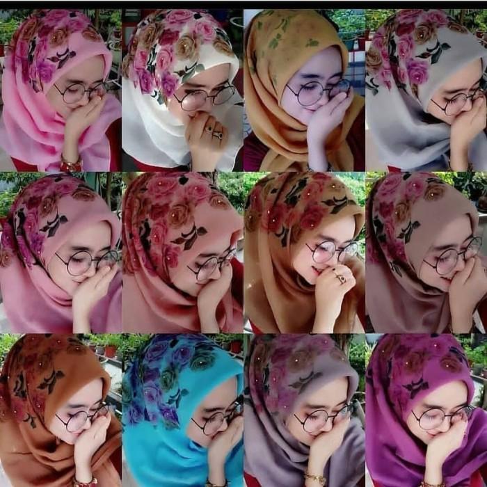 Jilbab hijab segiempat bella printing