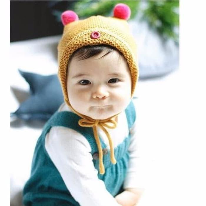 Jual Terbaru Topi Rajut Bayi   Topi Rajut Pompom - Kuning - Aris ... 2789d90648