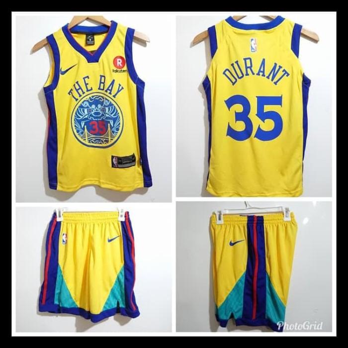 e4a569db7fa5 Harga Jual New Stelan Baju Jersey Basket Nba Anak Custom Name Golden ...