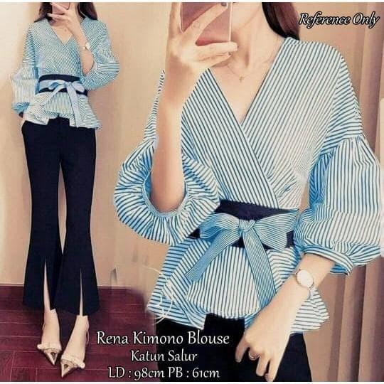 Fashion Wanita Atasan Blouse Atasan Spandek Korea Import Bigsize Fit 4fb4434a2d
