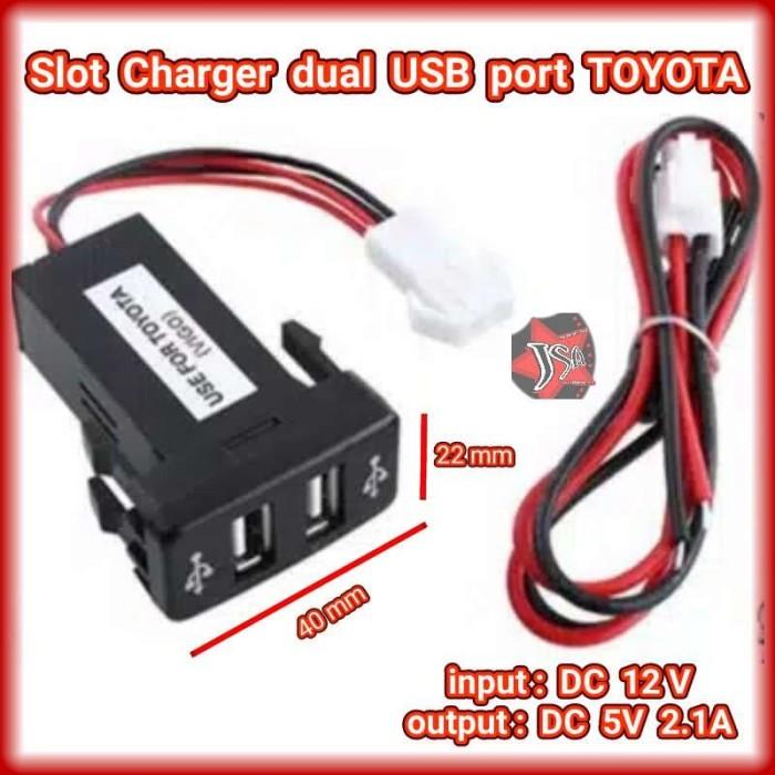 Foto Produk Slot Charger 2 port USB 2.1A Mobil TOYOTA dari JSA-RAYmart
