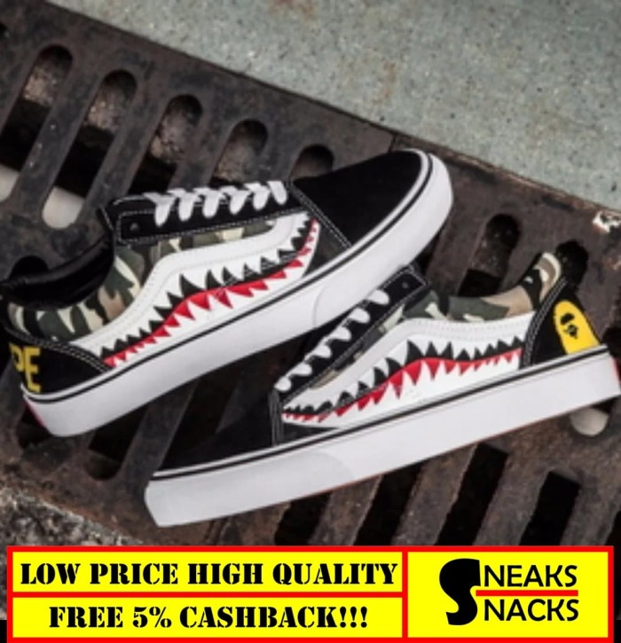 6ec870198125 Jual Vans x Bape 17SS Shark Mouths Tooth Black Old Skool High ...