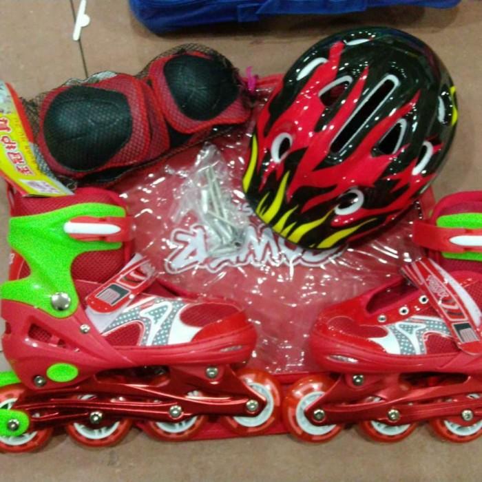 harga Sepatu roda inline skate fullset helm dan deker bisa set model bajaj Tokopedia.com
