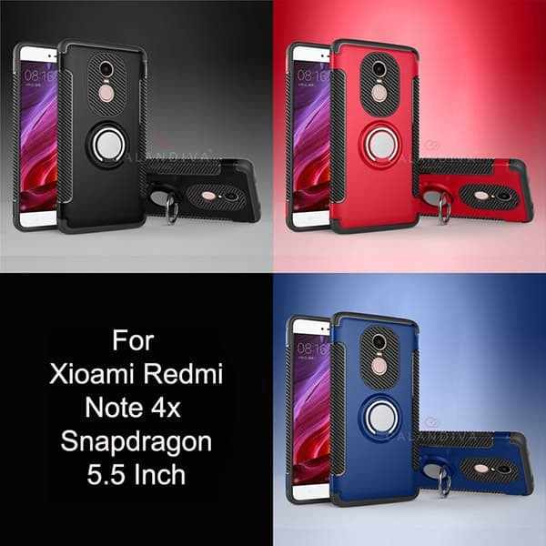 Calandiva Ring Carbon Case Xiaomi Redmi Note 4X Snapdragon - Black
