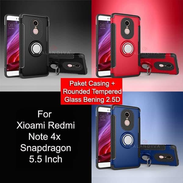 Calandiva Ring Carbon Case Xiaomi Redmi Note 4X Snapdragon - Black+TG - Hitam