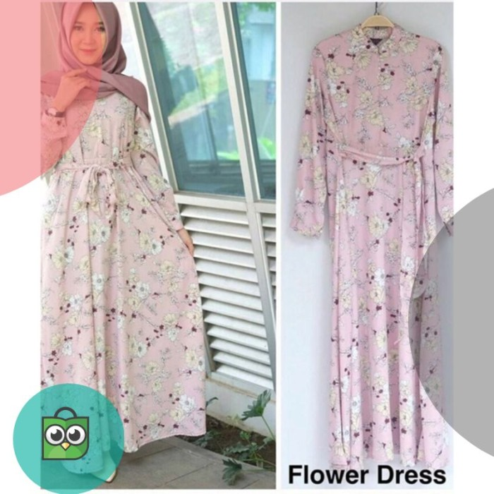 72df43b7cc1db Jual Promo ... Gamis monalisa motif flower dress terbaru - Renita Shop.ID |  Tokopedia