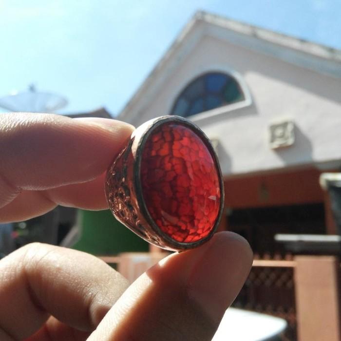 Hot - Cincin Natural Sisik Naga Merah Top Kristal