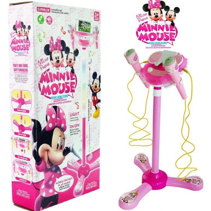 Jual Wow Mainan Microphone Karaoke Minnie Mouse 2 Mic Mp3 No 6807M Hot Sale  - gosmart55 | Tokopedia