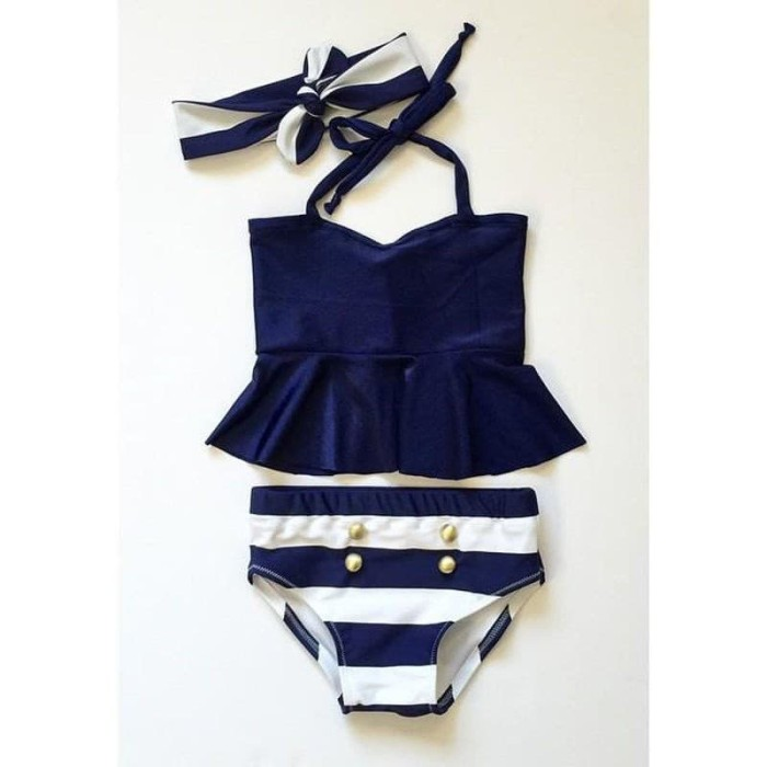 d7a0eb62c826f Kids Baby Girls Bikini Suit Navy Swimsuit Swimwear Bathing Swimming