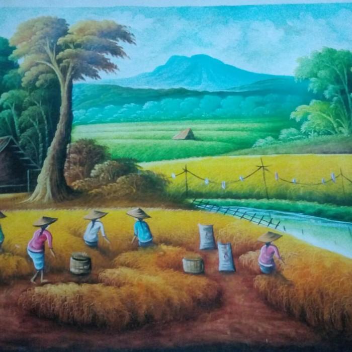 harga Lukisan panen padi 80x60 fengshui petik hasil kekayaan kemakmuran ps3 Tokopedia.com
