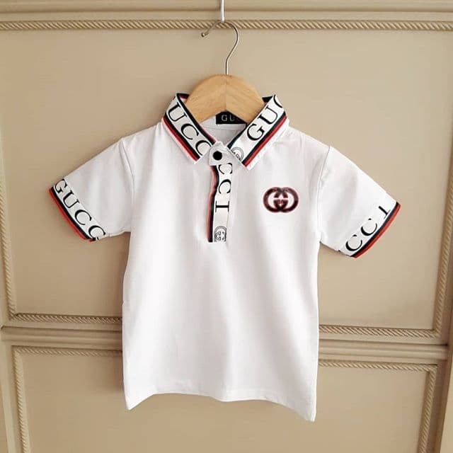 Foto Produk BAJUKIDDIE GC COLLAR WHITE . kaos polo anak laki pria import branded dari bajukiddie