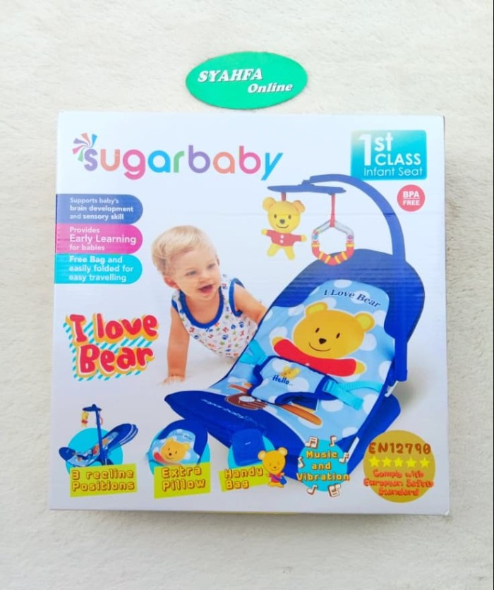SUGAR BABY Infant Seat with Toy Bar - I Love Bear baby bouncer