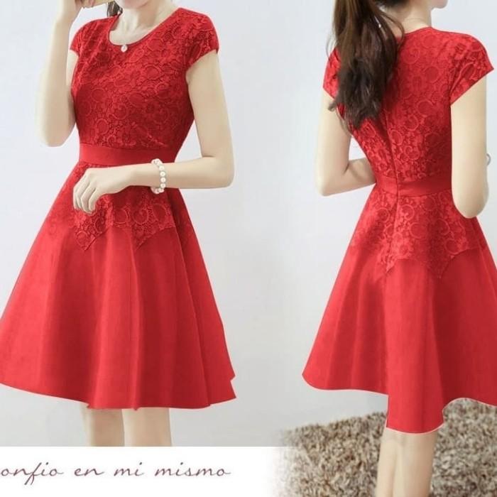 Jual Dress Brukat Merah Baju Pesta Anak Remaja Moudis Shop Inc