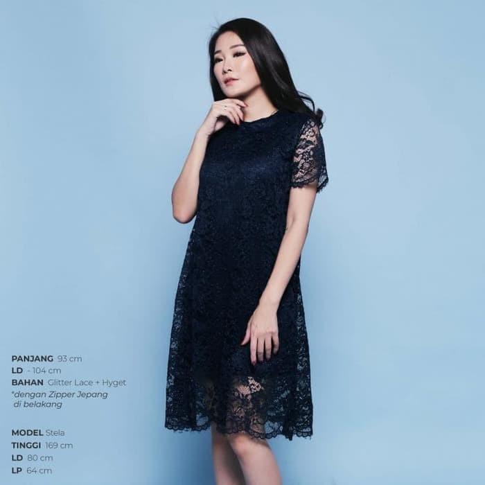 Jual Dark Blue Navy Korean Elegant Lace Party Dress Pesta Brukat Gq