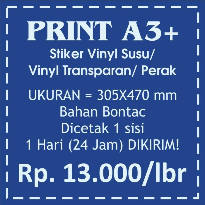 Print/Cetak Kertas Stiker Vinyl/Perak/Transparan Ukuran A3