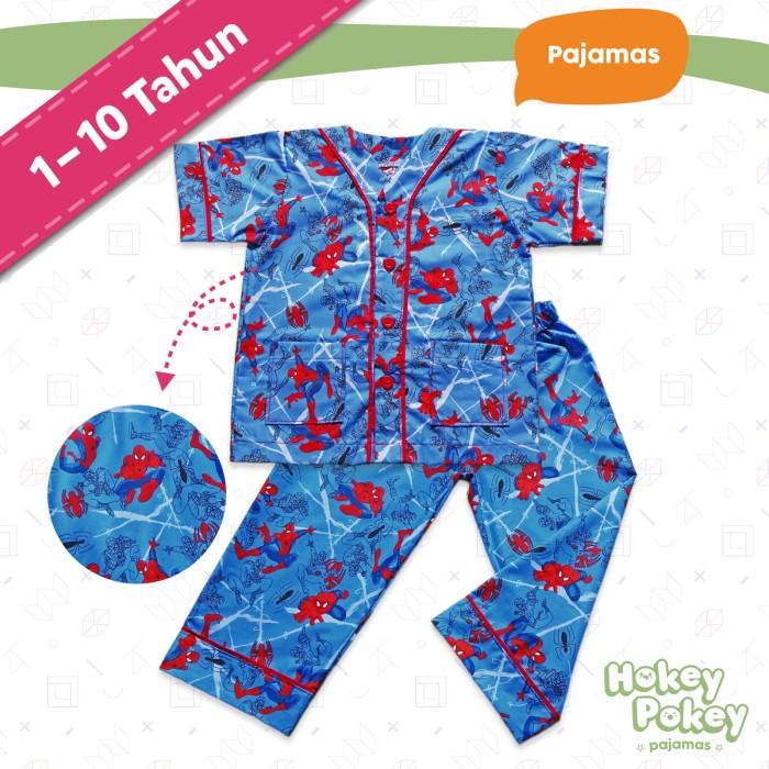 Setelan Baju Tidur Piyama Anak Laki Laki Tanpa Kerah Motif Spiderman - Size  2 5753f1a1e3