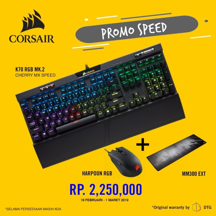 harga Corsair k70 rgb mk2 mechanical gaming keyboard garansi resmi dtg 2thn - mx speed Tokopedia.com
