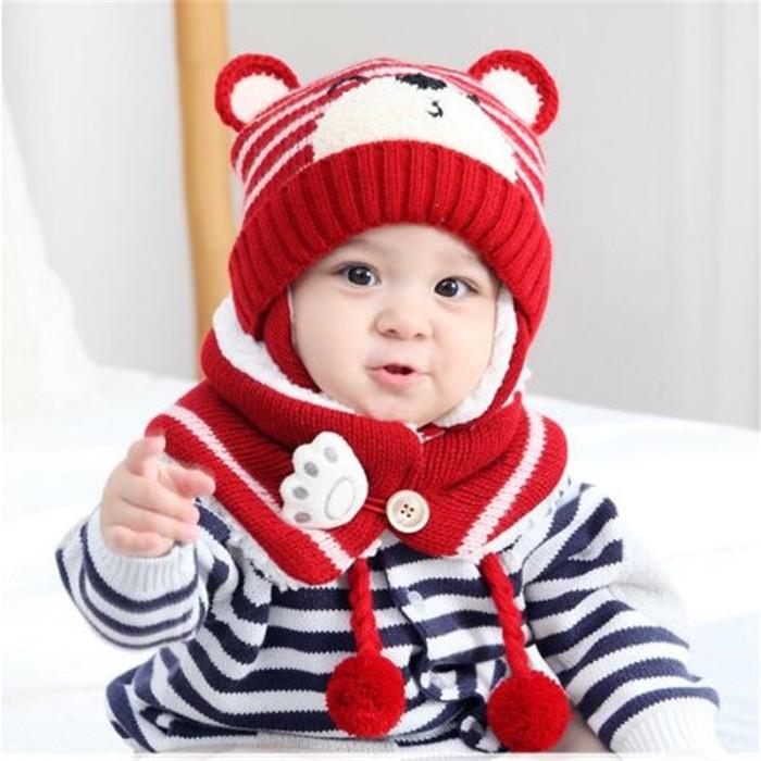 d6f18f5f913fe Jual Winter Baby Knit Hat Cute Bear Print Boy Girl Kids Warm Hat Cap ...